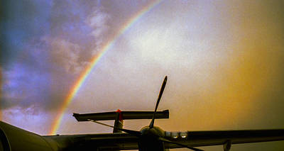 Dash 8 And Rainbow Poster by Greg Reed