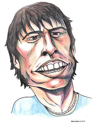 Poster featuring the drawing Dave Grohl Caricature by John Ashton Golden