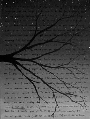 Dave Matthews Band Crush Lyric Art - Black And White Poster by Michelle Eshleman