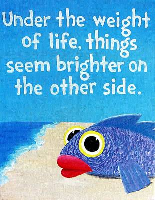 Dave Matthew's Big Eyed Fish Lyric Art Poster by Michelle Eshleman
