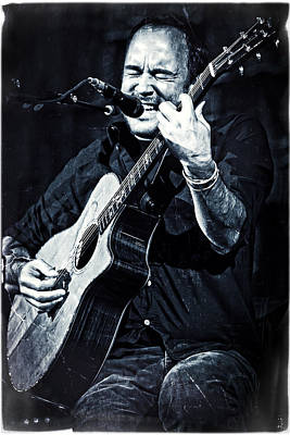 Dave Matthews On Acoustic Guitar In Blue And Black  Poster by Jennifer Rondinelli Reilly - Fine Art Photography