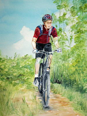Poster featuring the painting Dave On The Trail by Ellen Canfield