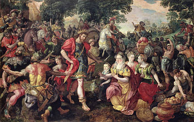 David And Abigail Or Alexander And The Family Of Darius Oil On Panel Poster by Maarten de Vos