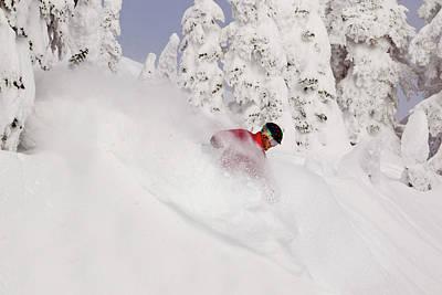 David Downing Skis Powder At Whitefish Poster by Chuck Haney