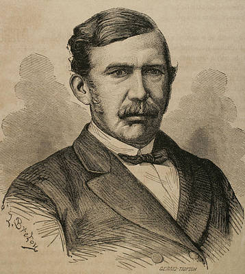 David Livingstone 1813-1873. Engraving Poster