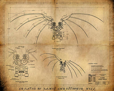 Davinci's Wings Poster by James Christopher Hill