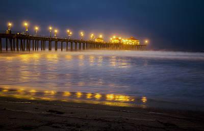 Dawn At Huntington Beach Pier By Denise Dube Poster