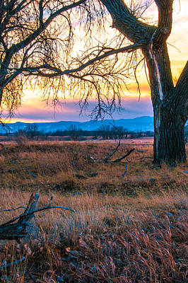 Setting Sun At Rocky Mountain Arsenal Poster
