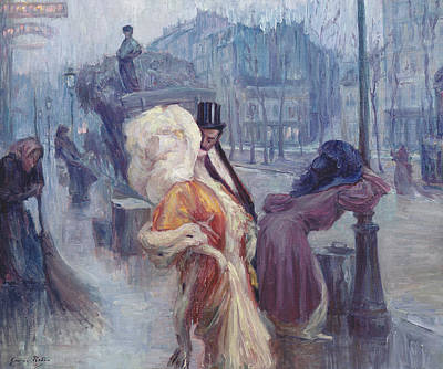Dawn Leaving The Restaurant In Montmartre Poster by Georges Redon