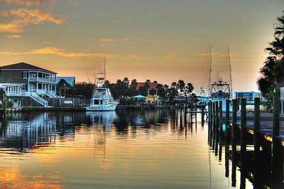 Dawn On A Orange Beach Canal Poster by Michael Thomas