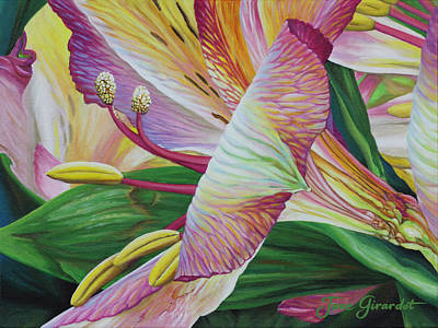 Poster featuring the painting Day Lilies by Jane Girardot