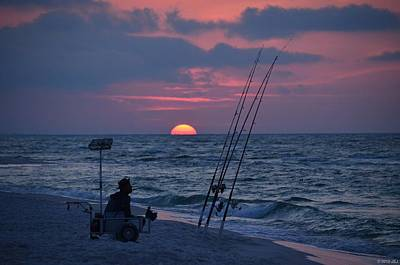 Poster featuring the photograph Daybreak On Navarre Beach With Deng The Fisherman by Jeff at JSJ Photography