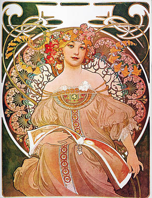 Poster featuring the painting Daydream by Alphonse Mucha
