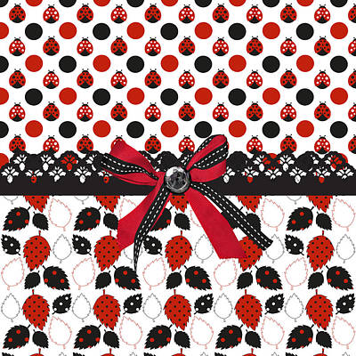 Dazzling Ladybugs  Poster by Debra  Miller