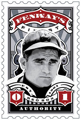 Dcla Bobby Doerr Fenway's Finest Stamp Art Poster by David Cook Los Angeles