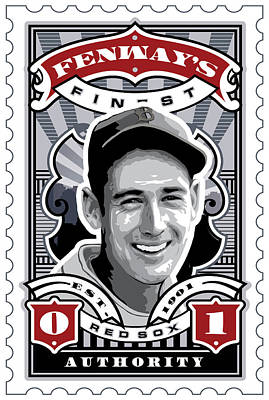 Dcla Ted Williams Fenway's Finest Stamp Art Poster by David Cook Los Angeles
