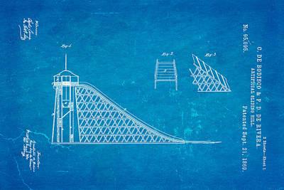 De Bodisco Artificial Sliding Hill Patent Art 1869 Blueprint Poster by Ian Monk