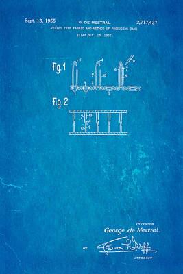 De Mestral Velcro Patent Art 1955 Blueprint Poster by Ian Monk
