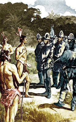 De Soto Meets Florida Indians, 1539 Poster by Science Source