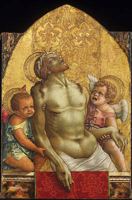 Dead Christ Supported By Two Angels Poster by Carlo Crivelli