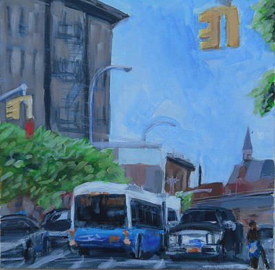 Poster featuring the painting Dean St And Nostrand Ave by Tu-Kwon Thomas
