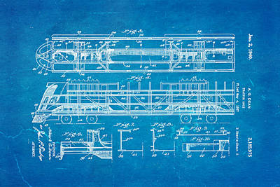 Dean Train Tractor Unit 2 Patent Art 1940 Blueprint Poster by Ian Monk