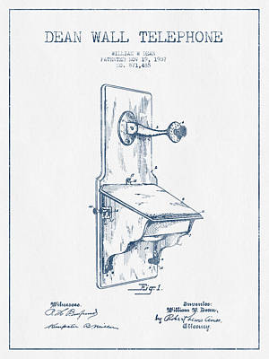 Dean Wall Telephone Patent Drawing From 1907 - Blue Ink Poster
