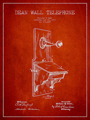 Dean Wall Telephone Patent Drawing From 1907 - Red Poster