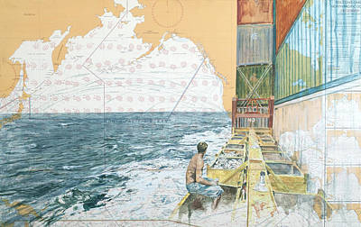 Deckwork At Sea Poster