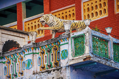 Decorated Balcony With A Tiger Statue Poster