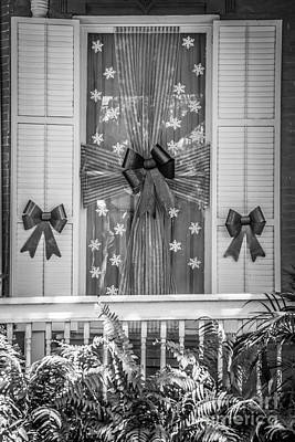 Decorated Christmas Window Key West  - Black And White Poster by Ian Monk