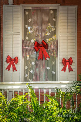 Decorated Christmas Window Key West  - Hdr Style Poster by Ian Monk