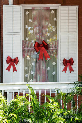 Decorated Christmas Window Key West Poster by Ian Monk