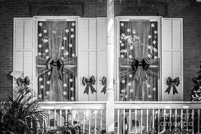 Decorated Christmas Windows Key West - Black And White Poster by Ian Monk