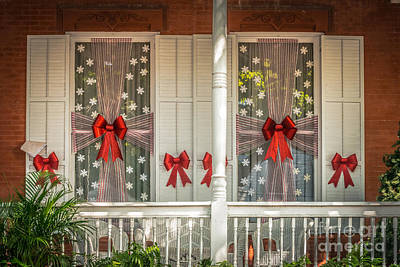 Decorated Christmas Windows Key West - Hdr Style Poster by Ian Monk