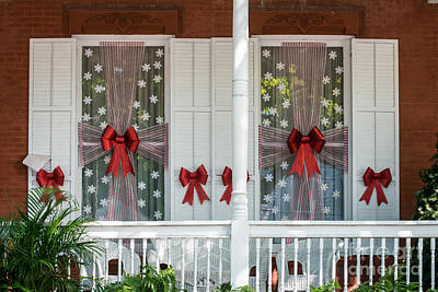 Decorated Christmas Windows Key West  Poster by Ian Monk