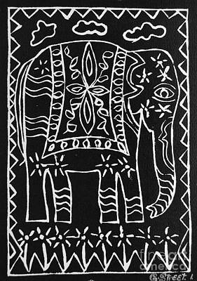 Decorated Elephant Poster by Caroline Street