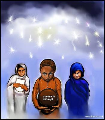 Dedicated To The Pakistani Children Poster by Carmen Cordova