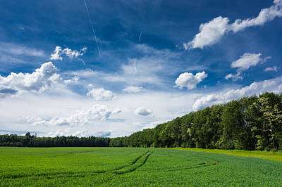 Deep Blue Fresh Green And White Clouds - Lovely Summer Landscape Poster
