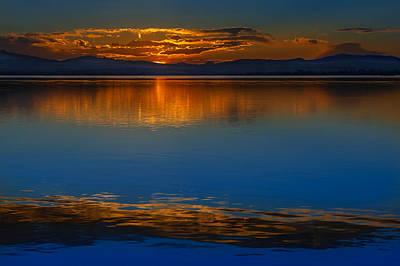 Deep Blue Sunset. Poster by Juan Carlos Ferro Duque