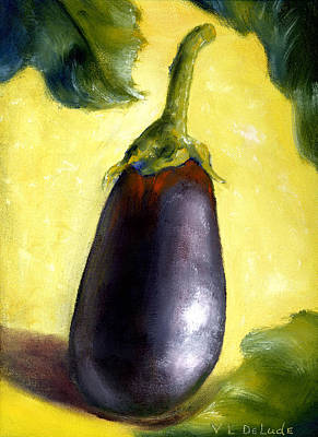 Deep Purple Eggplant Still Life Poster by Lenora  De Lude