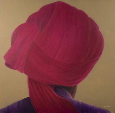 Deep Red Turban, Purple Jacket Poster by Lincoln Seligman