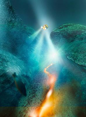 Deep Sea Exploration, Computer Artwork Poster by Science Photo Library