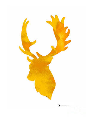 Deer Antlers Image Watercolor Art Print Painting Poster by Joanna Szmerdt