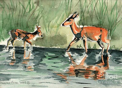 Deer At The River Poster by Genevieve Esson