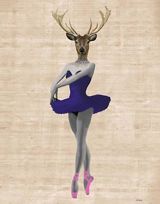 Deer Ballet Dancer Blue Poster by Kelly McLaughlan