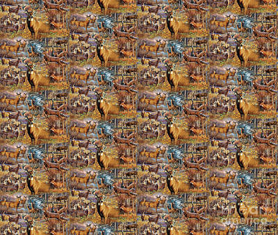 Deer Collage Douvet Cover Poster