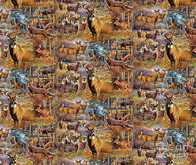 Deer Collage Pillow Design Poster