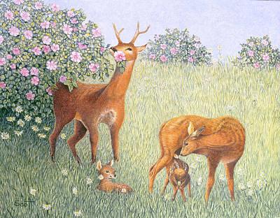Deer Family Oil On Canvas Poster