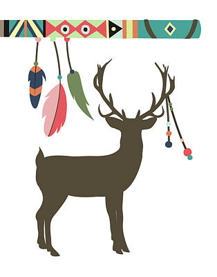 Deer Feathers Poster by Tamara Robinson